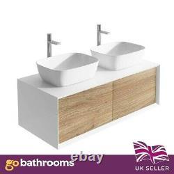 Dali Wall Mounted Bathroom Double Vanity Unit Gloss White & Oak Effect 1200mm