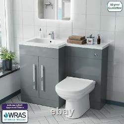 Debra Bathroom Light Grey L-Shape LH Basin Vanity Unit BTW WC Toilet 1100mm