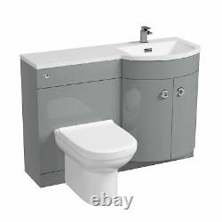 Debra Light Grey 1100 mm P Shape Vanity Unit Right Hand Sink and Toilet Bathroom