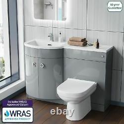 Debra Light Grey 1100 mm Pshape Vanity Unit Left Hand Sink and Toilet Bathroom