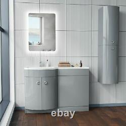 Dene Bathroom Basin Sink Vanity Light Grey Unit Furniture Cabinet LH 1100mm