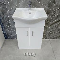 Denver Bathroom Vanity Unit 550mm Sink Basin Cloakroom Furniture Storage Cabinet