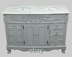 Designer French Traditional Bathroom Double Double Vanity Unit Marble Top