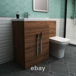 Designer LH Walnut Combi Bathroom Vanity Unit with Basin + Back To Wall Toilet