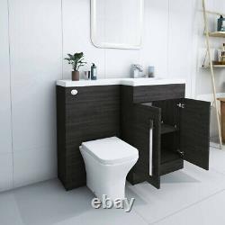 Designer RH Grey Combi Bathroom Vanity Unit with Basin + Back To Wall Toilet
