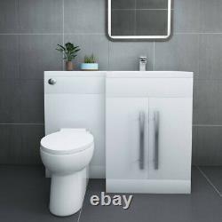 Designer RH White Combi Bathroom Vanity Unit with Basin + Back To Wall Toilet