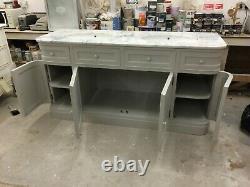 Designer Traditional Bathroom Double Sink Vanity Unit Marble Top Marble Top