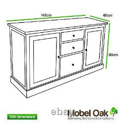 Double Vanity Unit Solid Oak Bathroom Cabinet Twin Ceramic Basin Sink Taps Set