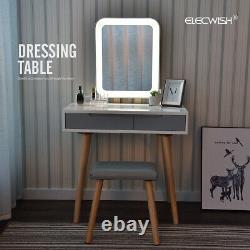Dressing Table Makeup Desk LED Mirror Vanity Set 2 Drawers Organizer Stool White