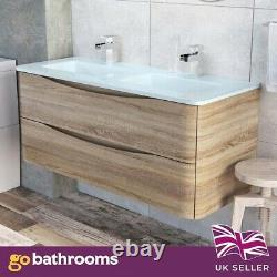 Eaton Bathroom Storage Double Glass Sink Wood Effect Wall Hung Vanity Unit 120cm