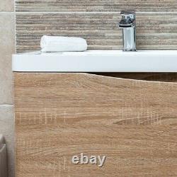 Eaton Bathroom Storage Double Sink Wall Hung Vanity Unit Light Wood Effect 120cm
