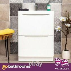 Eaton Gloss White Bathroom Floor Standing Vanity Unit & Resin Basin Sink 600mm
