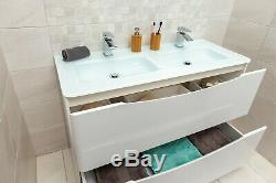 Eaton Gloss White Bathroom Standing Double Vanity Unit 120cm Glass Basin Sink