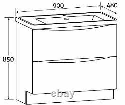 Eaton Gloss White Bathroom Standing Vanity Unit White Glass Basin Sink 90cm