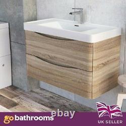 Eaton Light Ash Bathroom Wall Hung Vanity Unit Resin Basin Sink 90cm