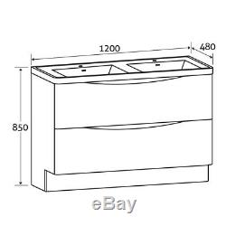Eaton Redwood Bathroom Standing Double Sink Wood Effect Vanity Unit 120cm
