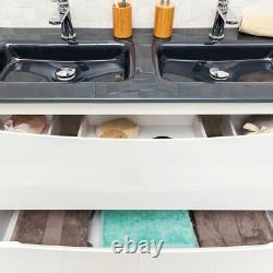 Eaton White Bathroom Standing Double Sink Vanity Unit Anthracite Glass 120cm