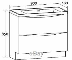 Eaton White Bathroom Standing Vanity Unit Anthracite Glass Basin Sink 90cm