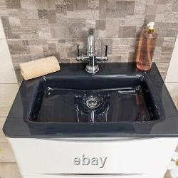 Eaton White Bathroom Wall Hung Vanity Unit Anthracite Glass Basin Sink 60cm