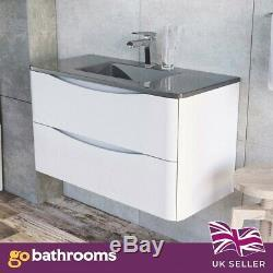 Eaton White Bathroom Wall Hung Vanity Unit Anthracite Glass Sink Basin 90cm