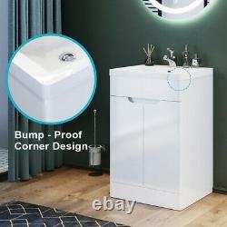 Floor Standing Bathroom Basin Sink Vanity Unit Gloss White Storage Cabinet