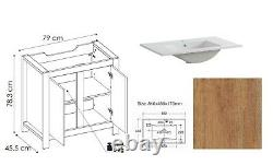 Floor Standing Bathroom Set 80cm Vanity Sink Cabinet Basin Tall Unit Classic Oak