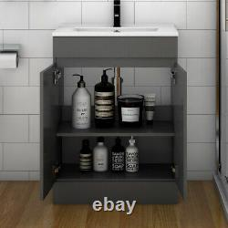 Freestanding 600mm Grey Bathroom Vanity Unit with Basin 2 Doors Furniture
