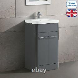 Freestanding Bathroom Basin Vanity Unit Storage High Gloss Ceramic Sink 600/500