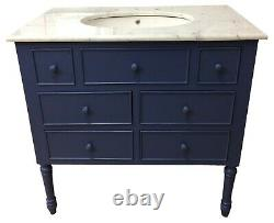 French Designer Painted Traditional Bathroom Single Sink Vanity Unit Marble Top