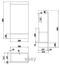 Gloss Grey Floor Standing 400mm Slim Vanity Unit Basin Sink Cloakroom Bathroom