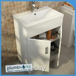 Gloss White Bathroom Suite Basin Vanity Unit Furniture BTW Toilet WC Unit
