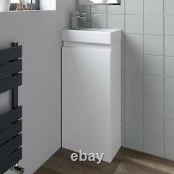 Gloss White Floor Standing 400mm Slim Vanity Unit Basin Sink Cloakroom Bathroom