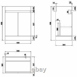 Gloss White Floor Standing Door Vanity Unit & Basin Sink 600mm Bathroom