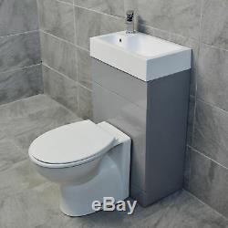 Grey Cloakroom All In One Space Saving Toilet & Basin Sink Unit En-Suite
