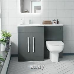 Grey Gloss LH Vanity Cabinet Basin Sink 1100mm and BTW WC Toilet Aron