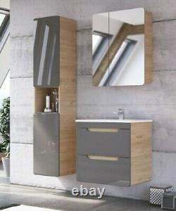 Grey Gloss & Oak Bathroom Furniture Set 600 Vanity Sink Unit Wall Cabinet Arub