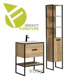 Industrial Loft Black Steel Oak 60cm Bathroom Vanity Cabinet Unit Sink 600 Brook