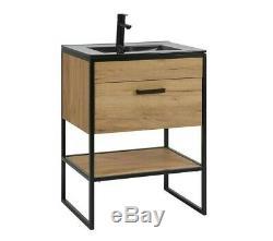 Industrial Loft Black Steel Oak Bathroom Vanity Cabinet Unit Sink Basin 60 Brook