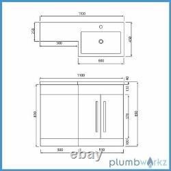 L Shape Anthracite Bathroom Furniture Suite Basin BTW Toilet Vanity WC Unit