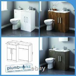 L Shape Bathroom Furniture Suite Resin Basin BTW Toilet Vanity WC Unit