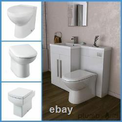 L Shape White Bathroom Furniture Suite Resin Basin BTW Toilet Vanity WC Unit