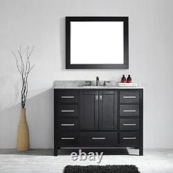 Large 1200MM Black Vanity Unit Basin Marble Worktop Mirror Floor Standing