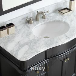 Large 1200MM Vanity Unit Basin Marble Bathroom Mirror Black Floor Standing