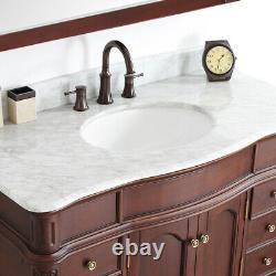 Large 1200MM Vanity Unit Basin Marble Worktop Mirror Antique Red Floor Standing