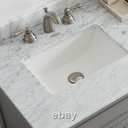 Large 1500 MM Vanity Unit Double Basin Marble Worktop Mirror Grey Floor Standing