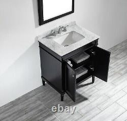 Large 750MM Black Vanity Unit Basin Marble Worktop Mirror Floor Standing