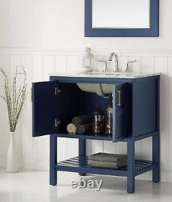 Large 750MM Royal Blue Vanity Unit Basin Marble Worktop Floor Standing