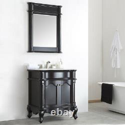 Large 750MM Vanity Unit Basin Marble Worktop Mirror Black Floor Standing Mirror