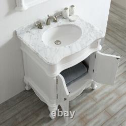 Large 750MM White Vanity Unit Basin Marble Worktop Mirror Floor Standing Mirror