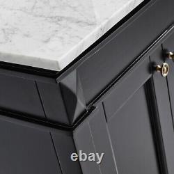 Large 900MM Black Vanity Unit Basin Marble Worktop Mirror Floor Standing